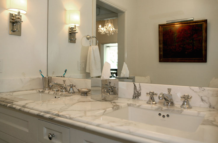 gorgeous white bathroom design with white bathroom cabinets vanity double sinks calcutta marble counter top polished nickel faucets and polished nickel