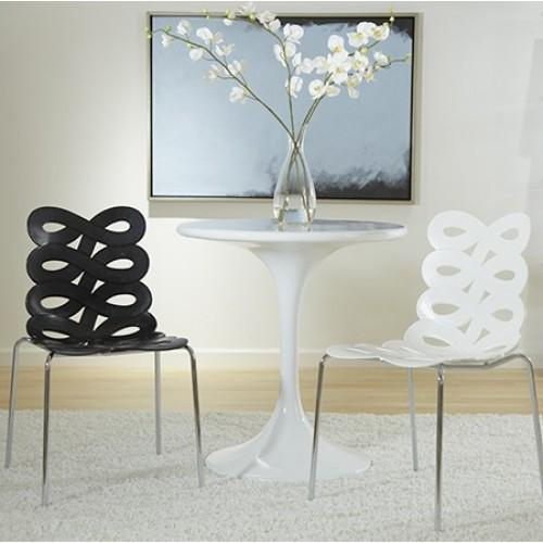 White Dining Chair Stacking Chair Set of 2 New