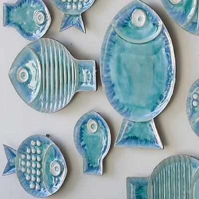 Blue Fish Plates   Contemporary Wall Decor