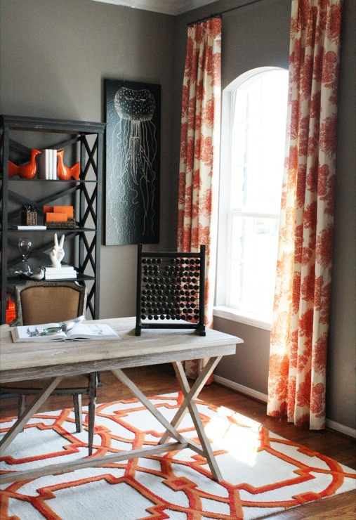 Orange curtains contemporary den library office - Curtains with orange walls ...