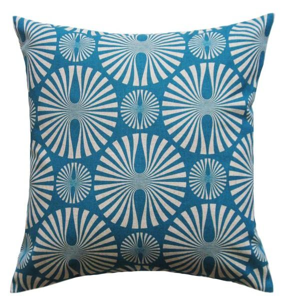 Media Turquoise Blue Modern Pillow Cover by ModDiva on Etsy