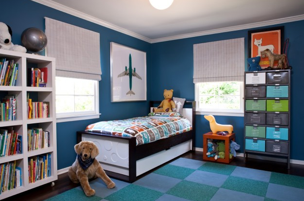 Adorable blue boy's bedroom design with bold blue walls paint color, modern  twin bed, blue & green FLOR carpet tiles, white Ikea Expedit bookcase, ...