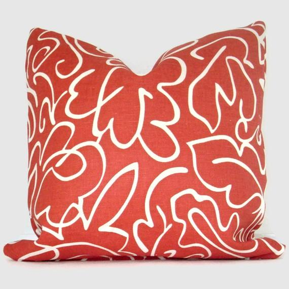 Red Linen Scalamandre Yang Pillow Cover 18x18 by PopOColor