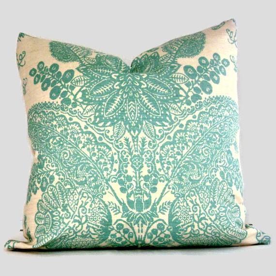 Decorative Turquoise Throw Pillows : Schumacher Turquoise Lace Floral Decorative Pillow by PopOColor