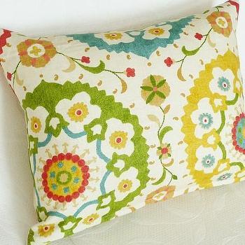 Colorful Decorator Suzani Pillow 18x18 by PillowThrowDecor