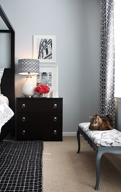 Charcoal Gray Curtains Contemporary Bedroom Emily A