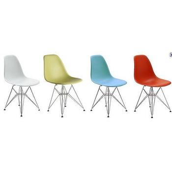 White Eiffel Molded Wire Base Side Chair, Modern Eiffel Chair Wire Base, Discount Eiffel Chair