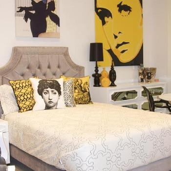 www.roomservicestore.com, Grey Velvet Tufted Avalon Bed