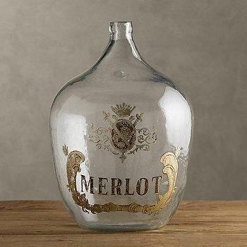 1920s Hand-Blown Wine Bottle Merlot, Objêts D'Art, Restoration Hardware