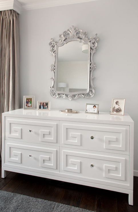 Greek key dresser transitional bedroom artistic - Comodas bebe ikea ...
