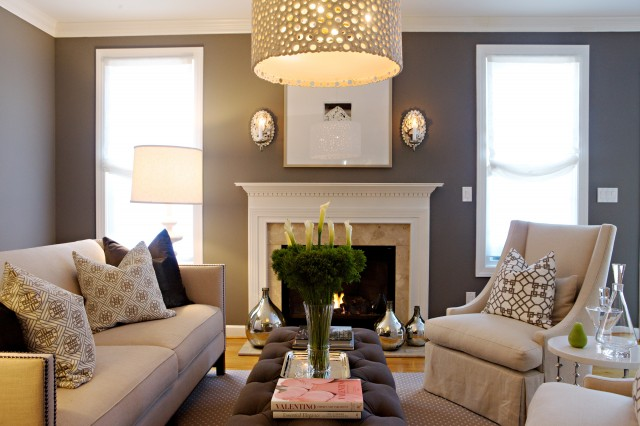 chic gray living room design with gray purple walls paint color oly studio wellfleet sconces bernhardt linen sofa with nailhead trim oly studio ichibad