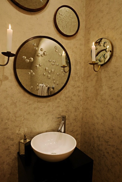 Chic Modern Powder Room Design With Round Mirrors Gallery, Espresso  Bathroom Cabinet With Round Vessel Sink And Mirrored Sconces.