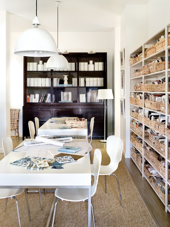 White sawhorse desk contemporary den library office for Trendy office design