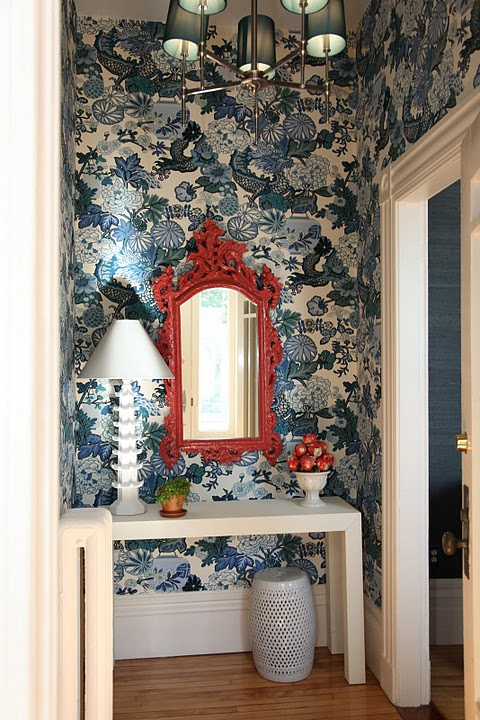 Foyer Wallpaper : Peacock blue wallpaper eclectic entrance foyer mmr