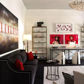 Black Velvet Sofa, Contemporary, living room, Dillard Design