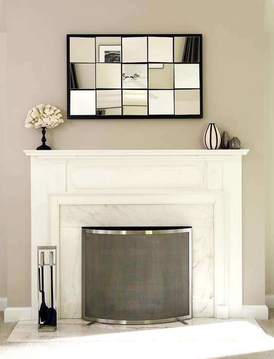 Multi panel mirror transitional living room bella for Fireplace mirrors