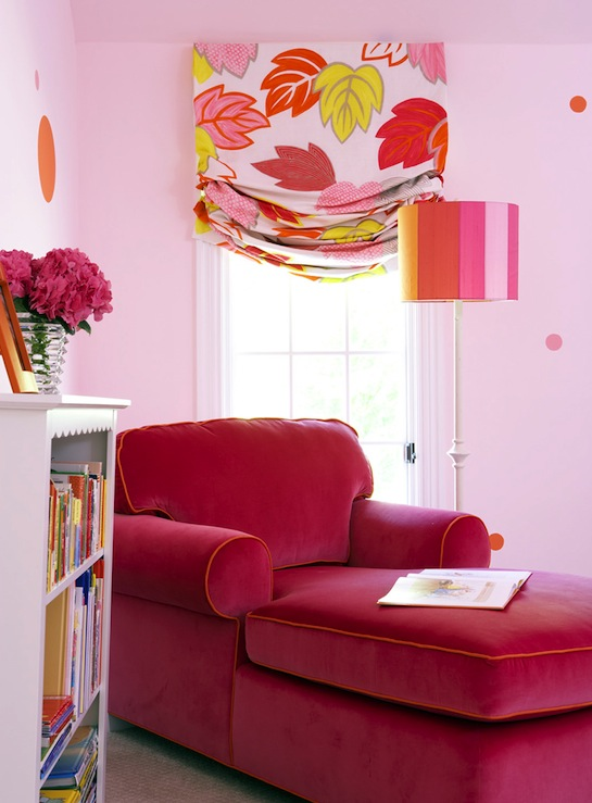 Hot pink chaise lounge transitional girl 39 s room bella mancini design - Hot pink room ideas ...