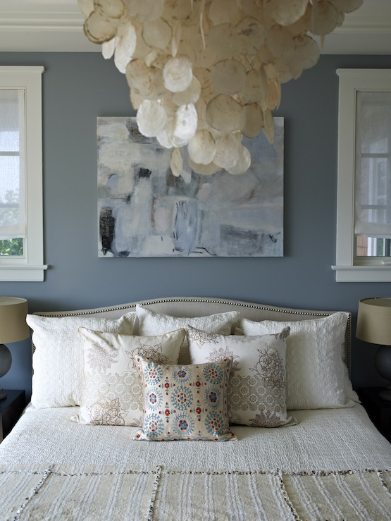soothing blue bedroom design with blue walls paint color capiz