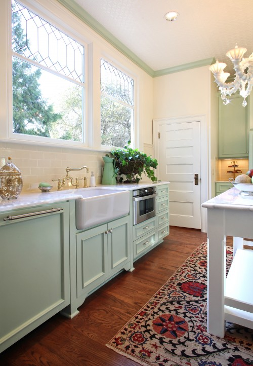 Mint green kitchen cabinets transitional kitchen Benjamin moore country green