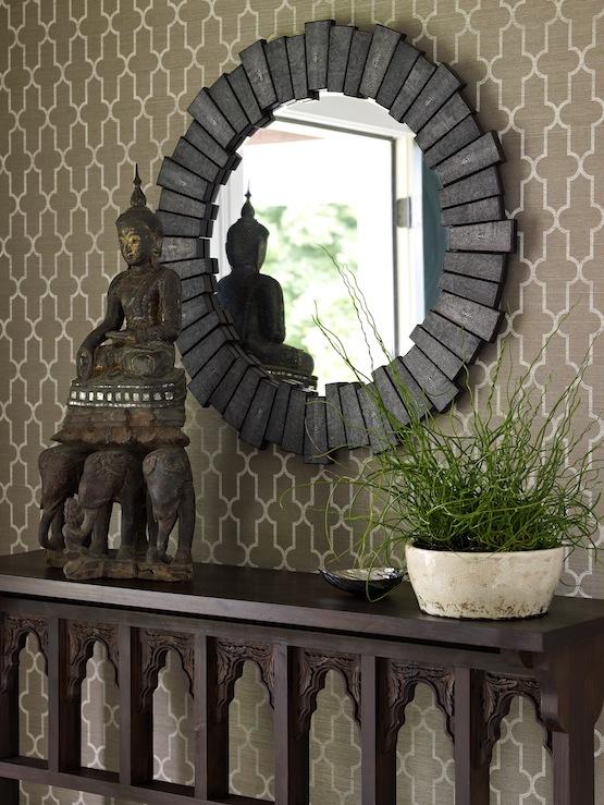 Zen Foyer Design : Quatrefoil wallpaper asian entrance foyer bella