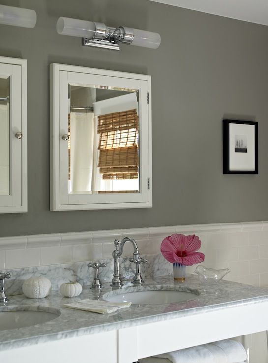 Gray bathroom cottage bathroom bella mancini design Bathroom design ideas gray