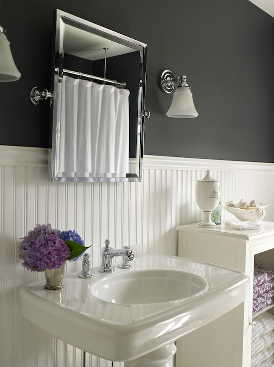 beachy cottage bathroom design with black walls paint color beadboard