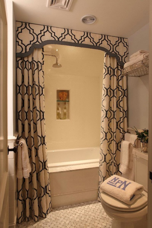 shower valance with curtains  transitional  bathroom  liz caan, Home decor