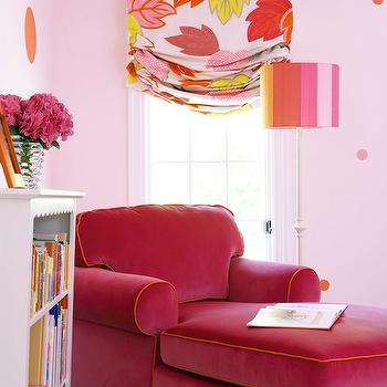 Hot Pink Chaise Lounge, Transitional, girl's room, Bella Mancini Design