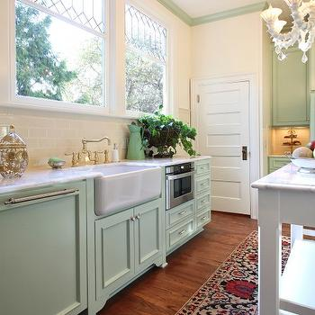 Vintage green kitchen design with mint green kitchen cabinets green