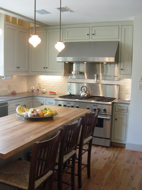 Gray cabinets butcher block top design ideas for Grey green kitchen cabinets