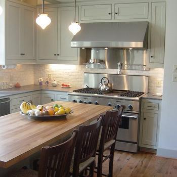 Gray Cabinets Butcher Block Top Design Ideas