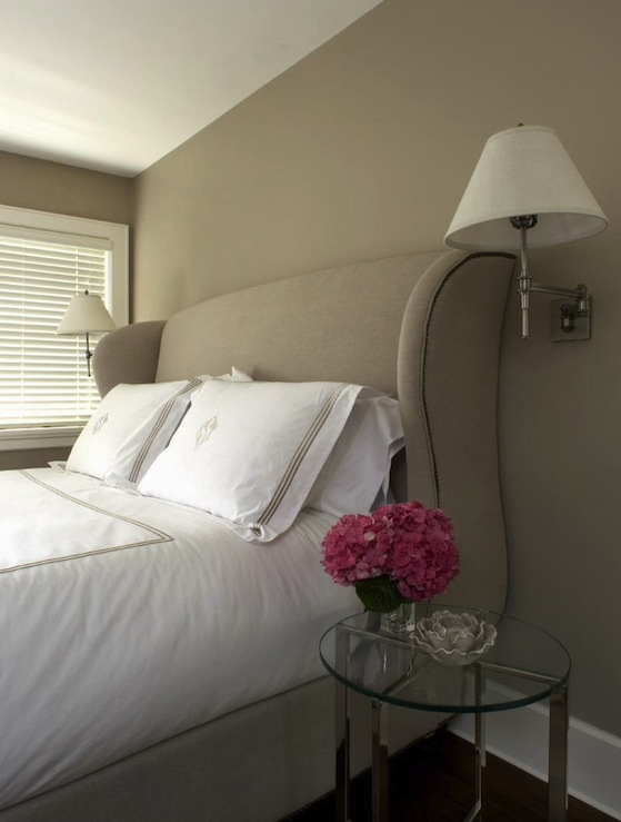 Upholstered headboard design ideas for Soft mocha paint color