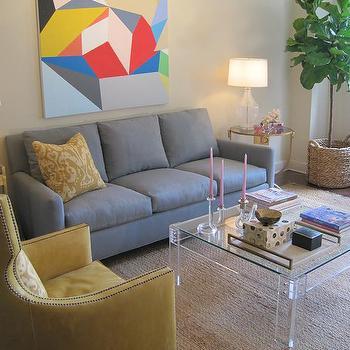 Lucite Coffee Table, Contemporary, living room, Elizabeth Sullivan Design