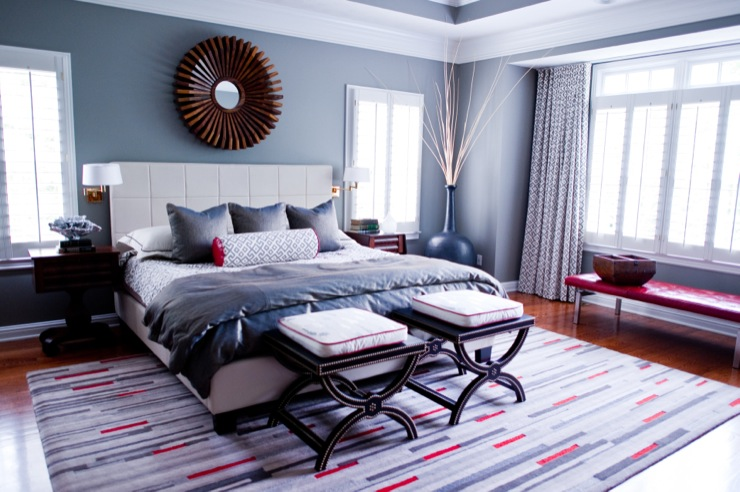 Red And Gray Bedrooms Design Ideas