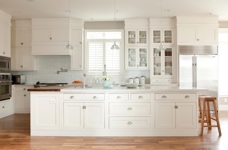 White Shaker Kitchen Cabinets long kitchen island - transitional - kitchen - ashlee raubach