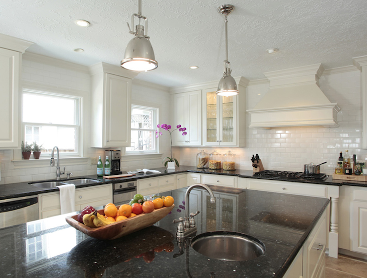 black granite countertops transitional kitchen ashley goforth