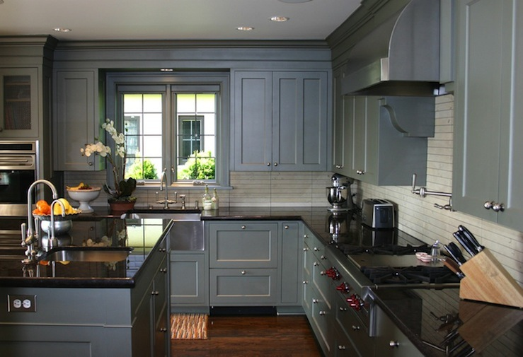 kitchen design with gray blue shaker kitchen cabinets, glossy black