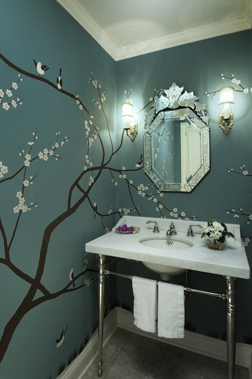 Cheery Blossom Wall Mural Contemporary Bathroom