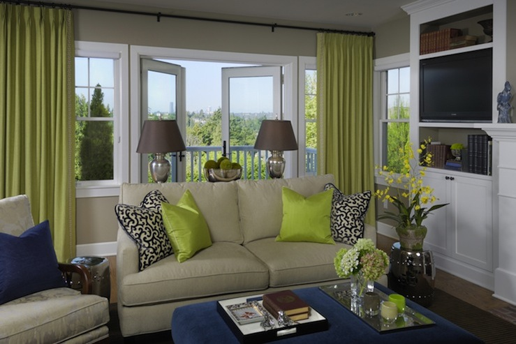 Chartreuse curtains traditional living room graciela for Green and beige living room ideas