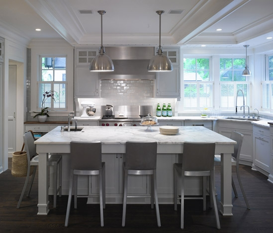 silver kitchen design with light gray kitchen cabinets, white kitchen