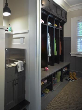 Mudroom lockers contemporary laundry room rehkamp for Mudroom sink ideas