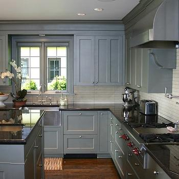 Gray blue kitchen cabinets contemporary kitchen thom for Blue gray kitchen cabinets