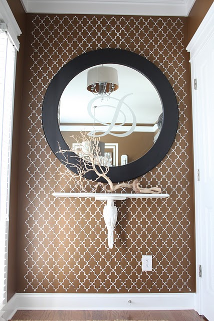 Arabesque Wall Stencil Contemporary Entrance Foyer