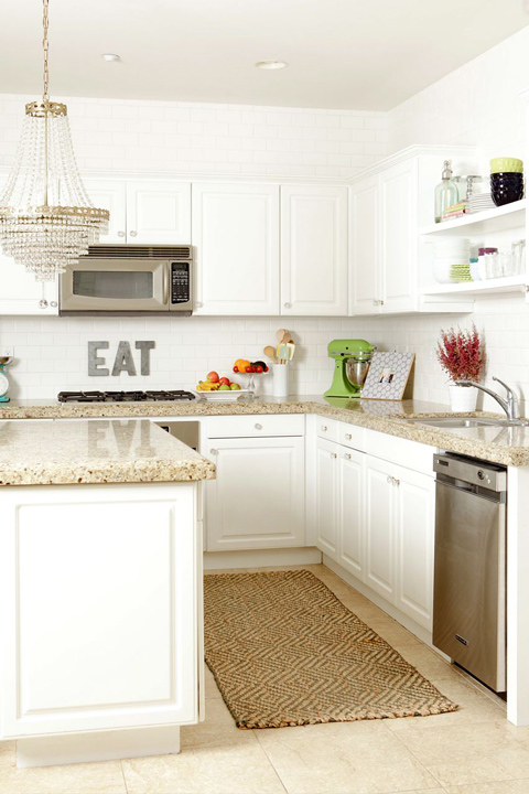 White Kitchen Cabinets with Granite Countertops  Transitional