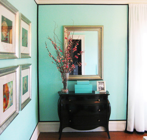 Tiffany Blue Paint Color Transitional Bedroom