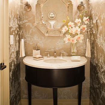 Chinoiserie wallpaper design ideas Pretty powder room ideas