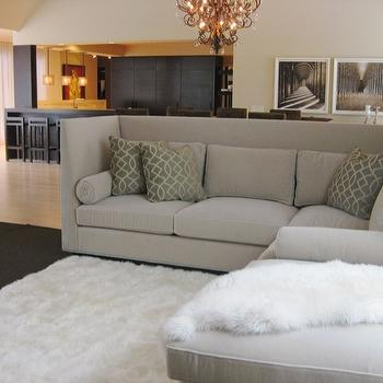 Gray Sectional, Contemporary, living room, Farrow & Ball Dimity, Amy Carman Design