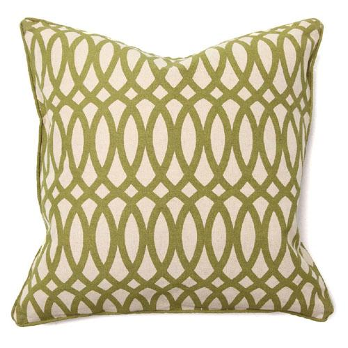 second nature geo print green pillow