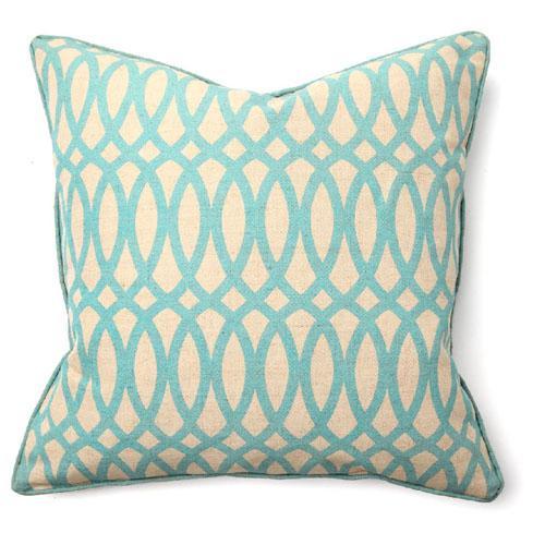 second nature geo print blue pillow
