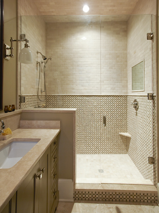 Tumbles marble tiles cottage bathroom urban grace for Small full bathroom designs